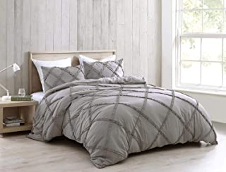 Chezmoi Collection 3-Piece Soft Washed Microfiber Duvet Cover Set Twin Grey