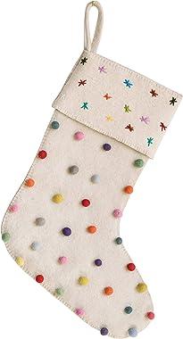 Creative Co-Op Cream Wool Felt Stocking with Pom Poms