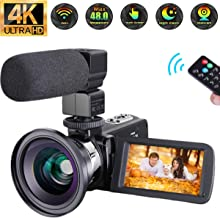 "Video Camera 4K Camcorder Ultra HD 48MP Vlogging Camera WiFi Digital Camera IR Night Vision 3.0"" Touch Screen Video Recorder 16X Digital Zoom with External Microphone Wide Angle Lens and 2 Batteries"