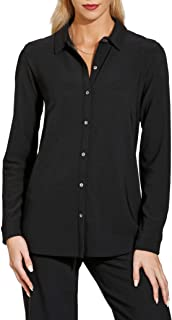 Solid Color Women's Wrinkle Resistant Collared Long Sleeve Button Down Knit Top