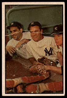 Baseball MLB 1953 Bowman Color #44 Yogi Berra/Hank Baue/Mickey Mantle G/VG Yankees