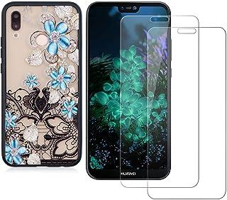 comprar comparacion YKTO Cristal Templado + Funda para Huawei P20 Lite Fina 3D Moda Dibujos Antigolpes Caso 2 Piezas HD Transparente Protect...