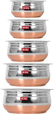 Nirvika Steel Handi Set Copper Bottom urli Set of 5pc pcs Piece Kitchen Serving,biryani milk new pot pan/tapeli/pateli/tope/C