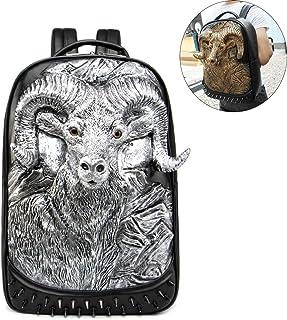 PU Leather Backpack,Retro Rivet 3D Animal Sheep Head Punk Rock Bag Casual Travel Laptop Fashion Leather Bookbag,Silver