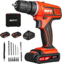 MPT 21V Max 3/8 inch Compact Cordless Drill Driver Set with Two 1.5Ah Lithium-ion Batteries,1 Hour Fast Charger Variable Speed Max Torque 310In-lbs 18+1 Position with LED