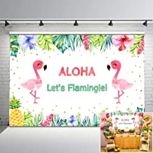Mocsicka Flamingo Pineapple Birthday Backdrop Tropical Pool Party Vinyl Background 7x5ft Summer Flamingo Birthday Photography Backdrops Birthday Party Decorations