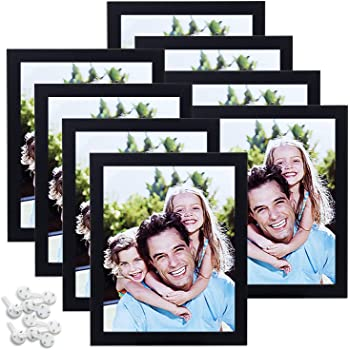 Sindcom 8x10 Picture Frame with High Definition Glass,Black Wood Textured Photo Frames Collage for Wall or Tabletop Display, Set of 8