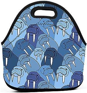 キッズ大人断熱弁当ポーチポータブルキャリートートピクニック収納バッグランチボックス食品グルメハンドバッグセイウチかわいい動物アート航海オーシャンテーマ南極ポーチトートバッグの学校のオフィス
