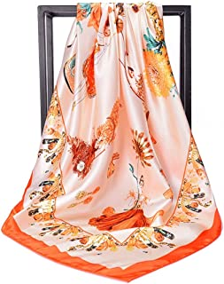 GLJJQMY Scarf Printed Large Square Scarf Sunscreen Shawl 90 * 90cm Scarf (Color : Orange, Size : 90 * 90cm)