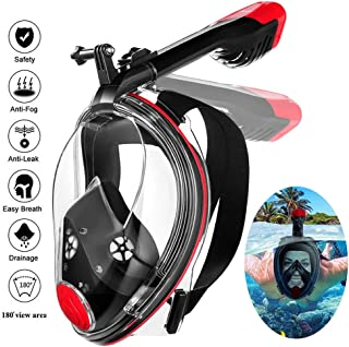 MOVTOTOP Full Face Snorkel Mask, Foldable Snorkeling Mask with Detachable Camera Mount, 180° Panoramic View Diving Mask Dry Top Set Anti-Fog Anti-Leak for Adults and Kids