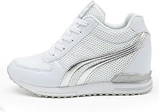 37a045f995de8 AONEGOLD® Baskets Compensées Femmes Chaussure de Sport Gym Fitness Sneakers  Basses Compensées 7 cm Jogging