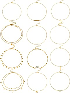 12 Pieces Gold Layered Choker Necklace Pendant Layering Adjustable Chain Necklaces Set for Women Girls