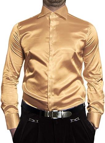 Camisa para hombre brillante B-Ware PMK14GPM, satén clásico ...