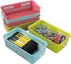Cadineer 6-Pack Small Plastic Desktop Organizer Basket Storage Bin (blue pink green)
