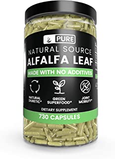 Natural Alfalfa Leaf, 730 Capsules, 3-Month Supply, No Stearates or Rice Filler, Made in USA, Pure and Gluten-Free, 1000 m...
