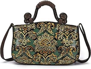 Luxurious Ashion Embossed Top Layer Cowhide Women's Handbag Retro Flower Shoulder Bag Outdoor Leisure Messenger Bag (35 * 11 * 23CM) (Color : Green)