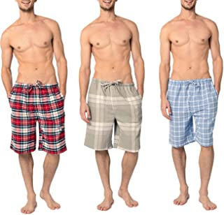 Andrew Scott Men's 3 Pack Light Weight Cotton Flannel Soft Fleece Brush Woven Pajama/Lounge Sleep Shorts