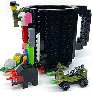 Build-on Brick Mug with 3 Packs of blocks, Carfard Christmas Gift Novelty Creative 12 oz Coffee Cups Funny Tea Mug Beverag...