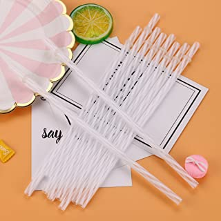🎁 The Straws Clearance 🎁, Colorful Reusable Hard Plastic Stripe Drinking Straws Party Decoration by Little Story Clearance (White)