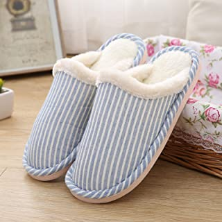 Winter Women's Slippers,Couple Striped Indoor Home Slippers,Non-Slip Soles,Comfortable And Warm And Cotton Slippers for Me...