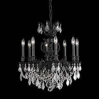 Elegant Lighting 9508D24DB/SA Marseille Collection 8-Light Hanging Fixture with Swarovski Strass/Elements Crystal, Dark Bronze Finish
