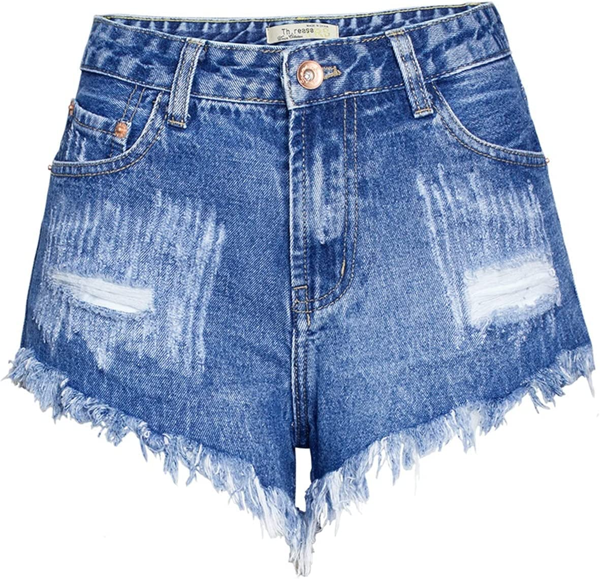 SBCDY Women's Destroyed Ripped Hole Denim Shorts Sexy Short Jeans Summer High Waist Denim Shorts Ripped Loose Denim Shorts Hot Pants with Rivets (Color : Blue, Size : 36)