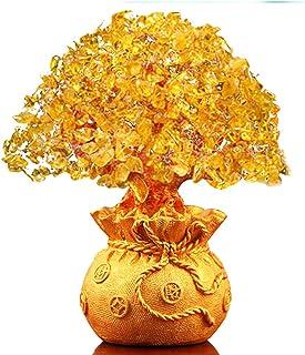 Haihuic Feng Shui Citrine Gem Yellow Crystal Money Tree 16 cm Wealth Luck for Home Living Room Bedroom Office