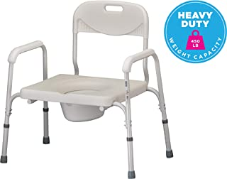 NOVA Heavy Duty Bedside Commode, Extra Wide Seat, 450 lb. Weight Capacity, Seat Height Adjustable, Stand Alone or Over Toilet Commode, White