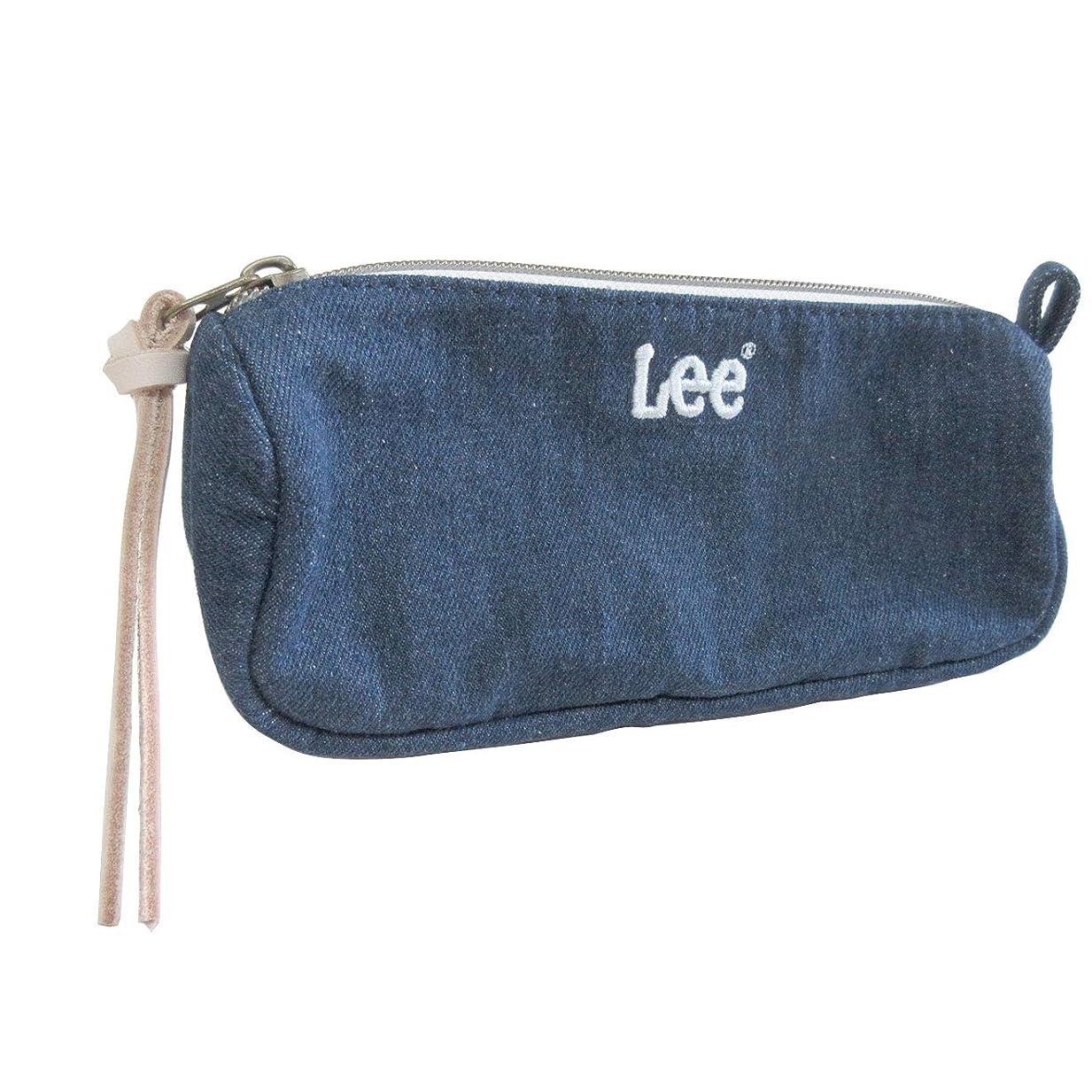 落ち着いて行商基本的な[リー] Lee ペンポーチ ファスナー開閉 刺繍ロゴ パッチポケット コットン