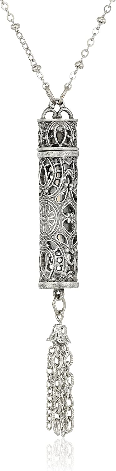 Animer and price revision Max 64% OFF 1928 Jewelry Womens Pewter Filigree Vial Pe Tassle Necklace with