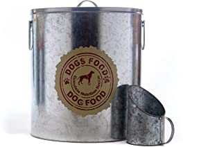 Rustic Silver Dog Pet Food Storage Container with Cute Decal  Large Size Canister fits up to 50lbs with Matching Scoop   Innovative Design for Pet Food Storage   No More Plastic Containers