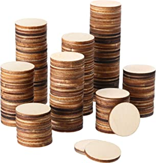 """WOWOSS 200 Pcs 1"""" Unfinished Wood Slices Round Disc Circle Wood Pieces Wooden Cutouts Ornaments for Creating Jewelry Christmas Painted Tree Decorated Craft Projects"""