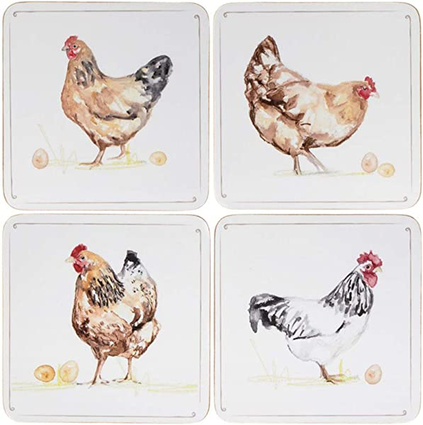 Set Of 4 Country Life Chickens Dining Coffee Table Tea Coffee Cup Coasters
