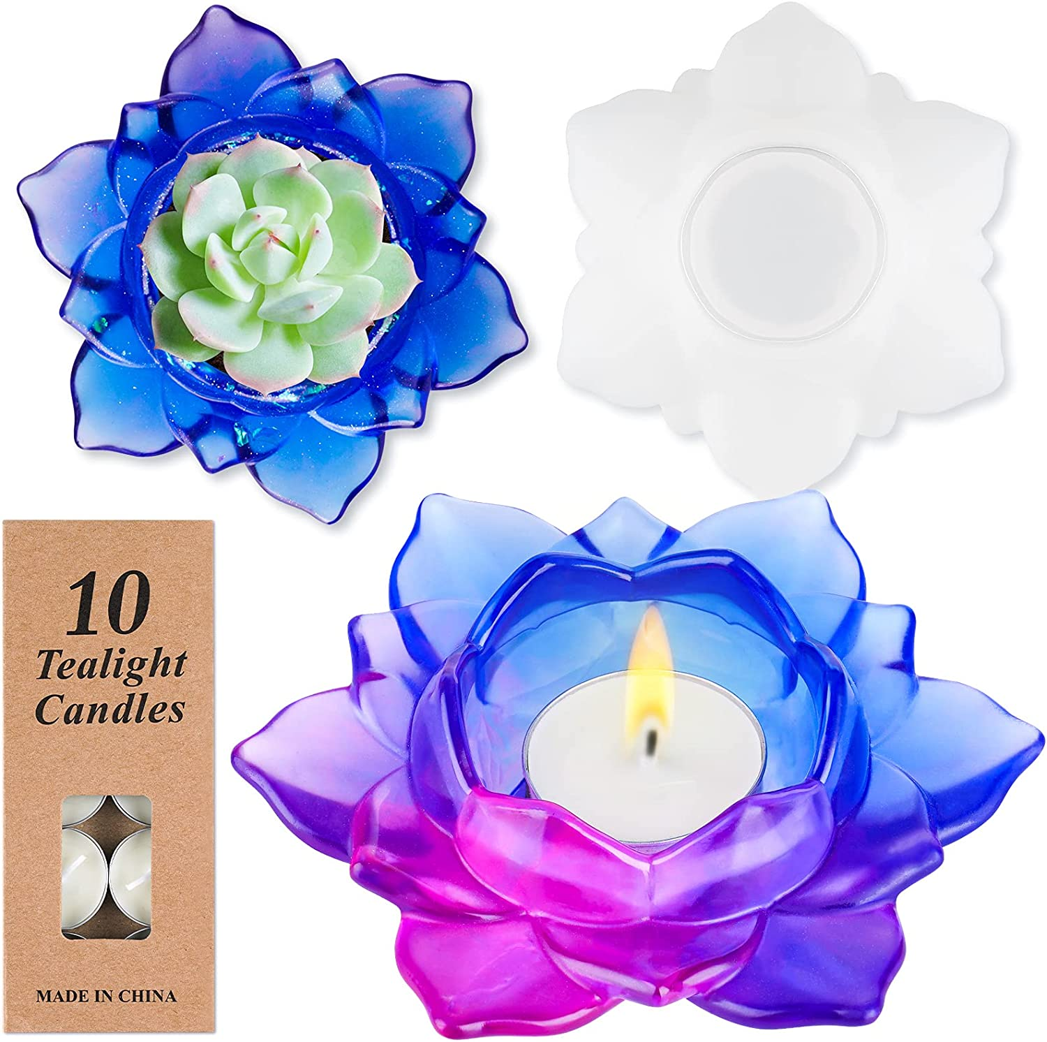 NiArt Lotus Candle Holder Mail order cheap Epoxy Max 90% OFF Soft Mold Silicone Resin Casting