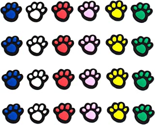 AUEAR, 24 Pack Paw print Shoes Charms Cute Shoes Decorations for Shoes Wristband Bracelet and Party Gifts