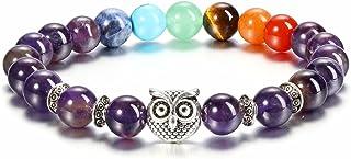 Jovivi Cystal Chakra Bracelet 8mm Natural 7 Chakra Gemstone Yoga Beads Stone Beaded Elastic Stretch Bracelet with Owl Luck...
