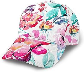 miniaer Baseball Cap-Floral Print Fall Blush Pink White Black