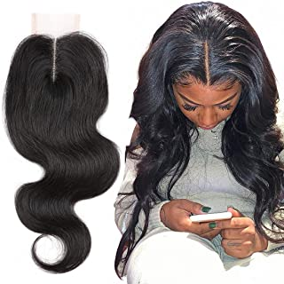 CCOLLEGE Brazilian Body Wave Lace Closure 100% Unprocessed Human Hair Middle Part Lace Closure Natural Color Weave 2x4 130% Density 10 Inch