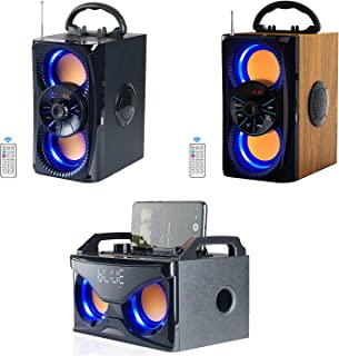 $113 » Bluetooth Speakers, Portable Wireless Speaker with Lights, Double Subwoofer Heavy Bass, FM Radio, SD Player, Remote, Suita...