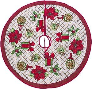 Joyoyo Jupe de Sapin de Noël décorative pour fête, Vacances, Maison, 100 cm (Sac Cadeau à Fleurs Rouges)