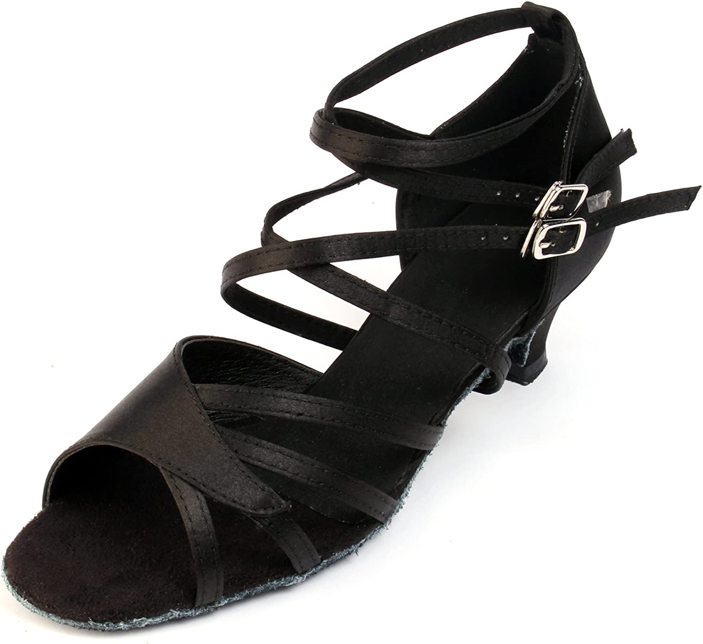 Buge Women's Peep Toe Sandals Latin Salsa Tango Ballroom Dance shoes with 1.5  Heel Black