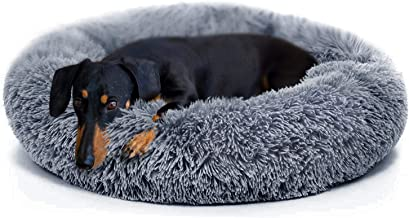 Calming Bed for Dogs Soft Faux Fur Donut Medium Sized Pet Beds with Fleece Blanket for Pets