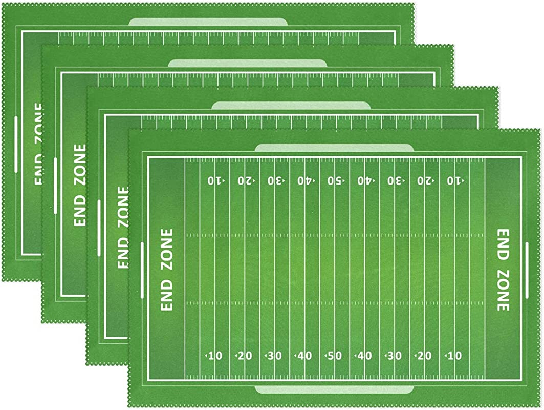 XiangHeFu Placemats Green American Football Field 12x18 Inch Heat Resistant Set Of 4 Non Slip Dinning Table