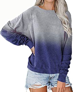 Women's Tie-Dye Gradient Printed Long Sleeve Shirts Blouse Round Neck Tunic Tops Fitted Casual Tees T-Shirt Polos