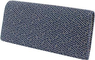 印傳屋 印伝 長財布 束入M 紺地×白漆 紗綾形柄 2109-14-006
