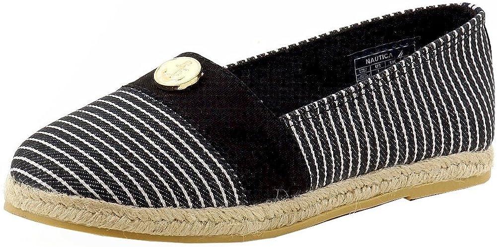 Nautica Girl's Azeda Stripe Tan Canvas Fashion Slip On Shoes Sz: