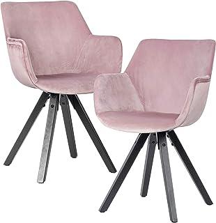 Wohnling Juego de 2 sillas de comedor de terciopelo rosa con reposabrazos, sillas de cocina modernas con patas negras, cómodas sillas acolchadas