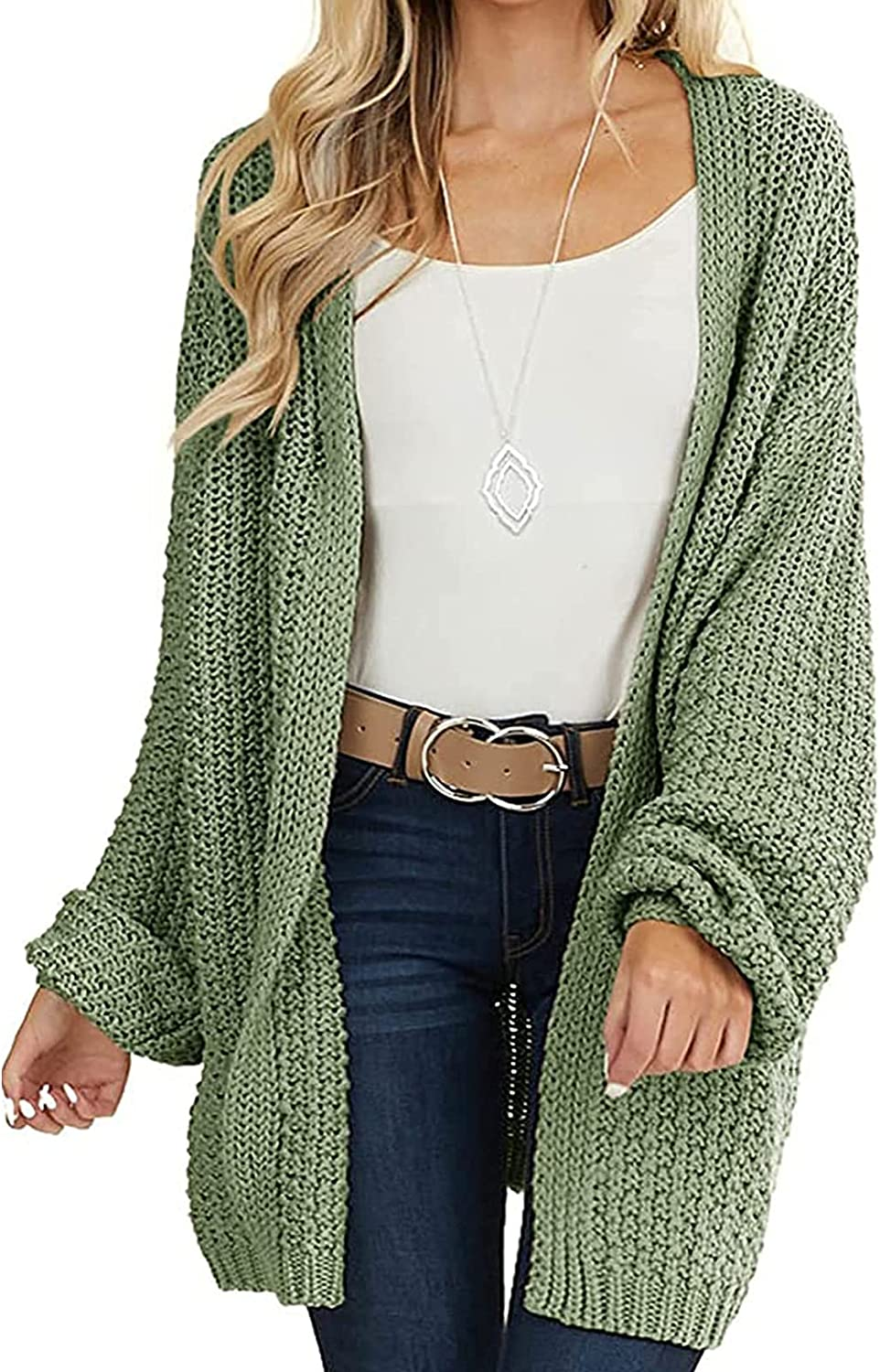 HIFUAR Womens Cardigan Sweater Long Sleeve Oversized Open Front Chunky Cable Knit Cardigans Fuzzy Sweaters