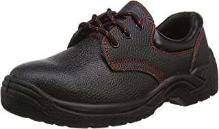 Himalayan 1414 Dual Density Leather Upper Safety Shoe with Steel Toe Cap and Midsole, Black, Size 11