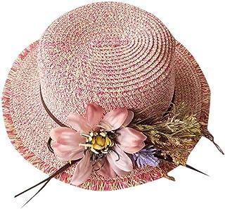 0384562088f27 RYTEJFES Chapeau de Paille pour Femmes Chapeau de Paille à Fleurs avec  Chapeau de Plage Dames